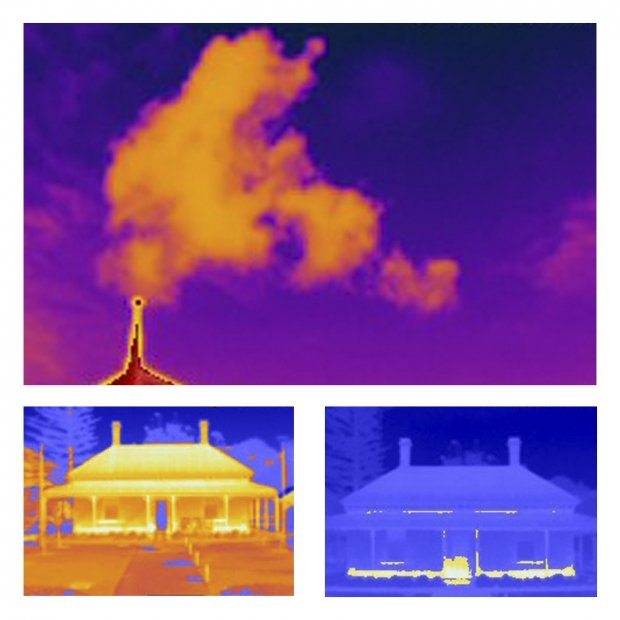 Thermal imaging camera test shots of Sauerbier House